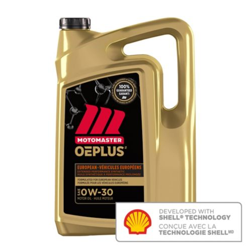 MotoMaster OEPLUS European 0W30 Premium Synthetic Engine Oil, 5-L