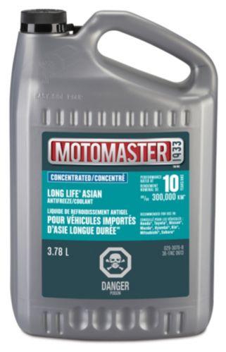 Liquide de refroidissement concentré à durée prolongée MotoMaster pour véhicules asiatiques, 3,78 L