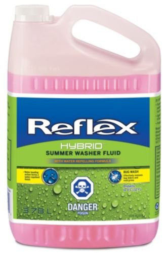 Reflex Water Repelling Summer Windshield Washer Fluid with Bug Remover, 3.78-L