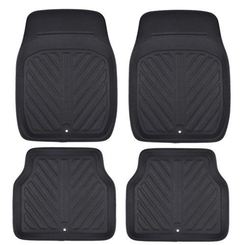 MotoMaster Luxury Faux Leather Car Floor Mat Set, 4-pc