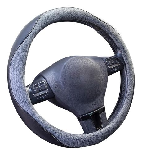 AutoTrends Faux Leather Steering Wheel Cover, Grey/Black