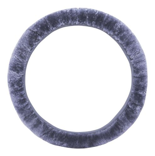 AutoTrends Sheepskin Steering Wheel Cover, Grey Product image