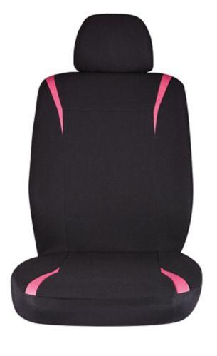 Autotrends Front PVC Seat Cover, Pink/Black