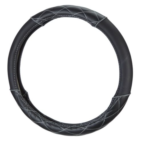 AutoTrends Steering Wheel Cover, Black/Grey Product image