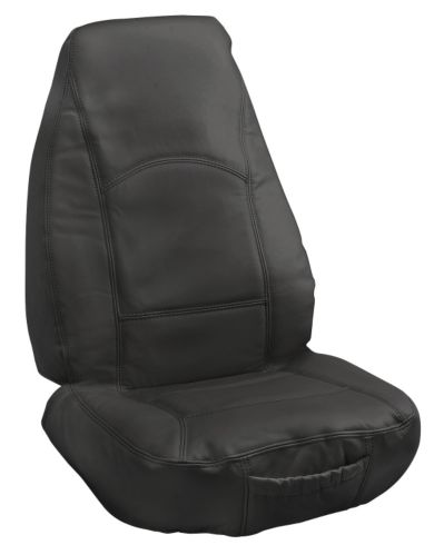 Leather High-back Seat Cover, Black