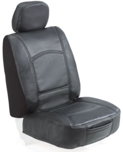 Black Leather Low-back Seat Cover