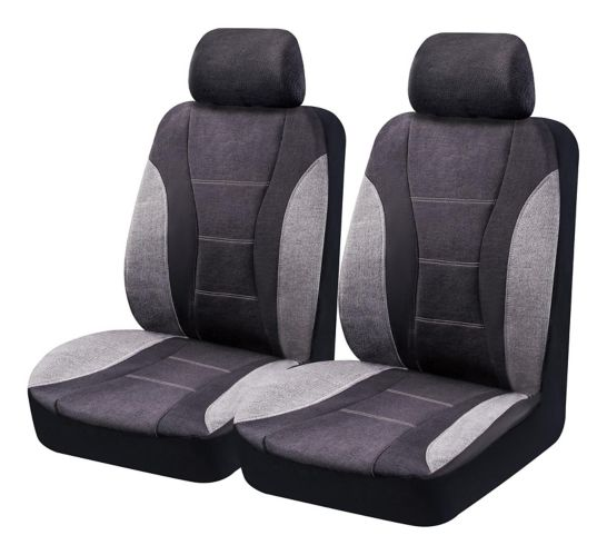 AutoTrends Heavy Duty Flax Low Back Seat Cover Set, Grey, 4-pc