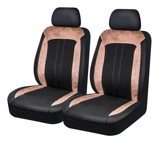 Housse de siège en suède brossé AutoTrends, havane et noir, 4 pces