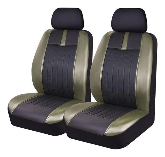 AutoTrends Leatherette Low Back Seat Cover, Olive/Black, 2-pc