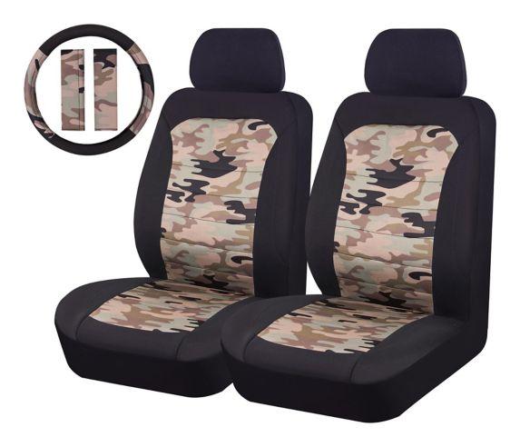 Housse de siège et housse de volant AutoTrends, camouflage, 5 pces