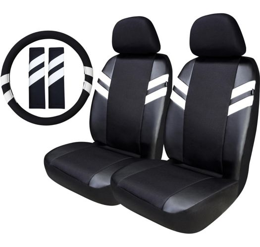 AutoTrends Stripe Athletic Seat Cover & Steering Wheel Kit, 5-pc