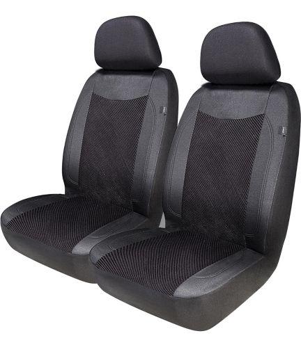 AutoTrends Corduroy Low Back Seat Cover, Black, 2-pc