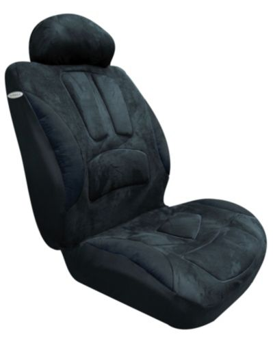 Suede Low Back Black Seat Cover