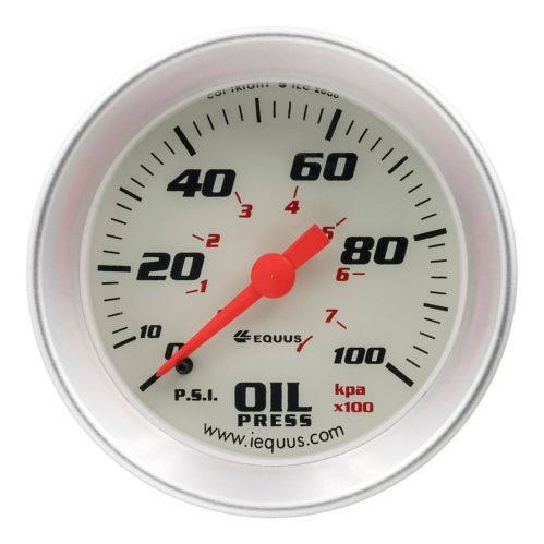 Manomètre de pression d'huile EQUUS, 2 po, aluminium