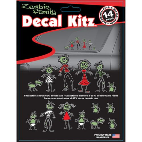 Zombie Family Colourized Car Decal Kit
