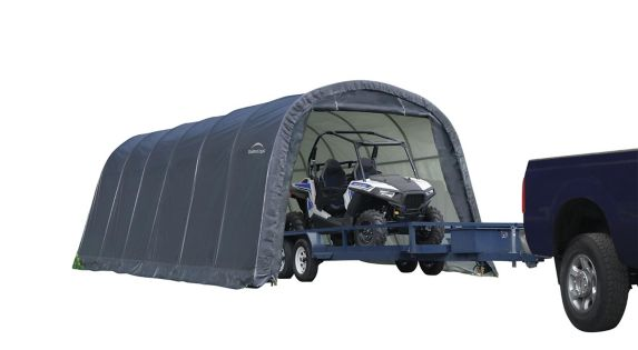 Box Round Shelter Grey 24 Ft X, Shelterlogic Garage In A Box