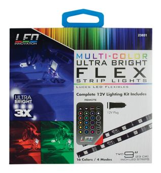 Multi Colour Led Vehicle Strip Lights With Remote 9 In