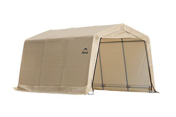 ShelterLogic Peak Style Auto Shelter, Sandstone, 10-ft x 15-ft x 8-ft