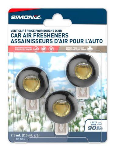 Simoniz Vent Clip Car Air Freshener, Cotton, 3-pk Product image