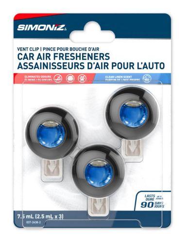 Simoniz Vent Clip Car Air Freshener, Linen & Sky, 3-pk Product image