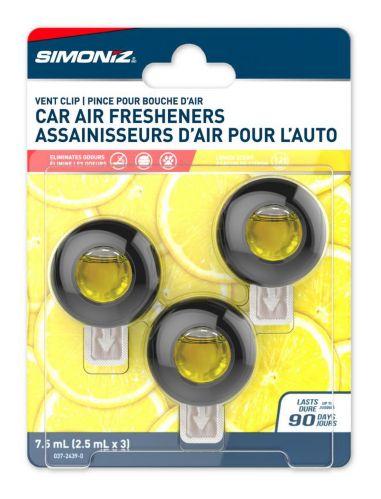 Simoniz Vent Clip Car Air Freshener, Lemon, 3-pk Product image