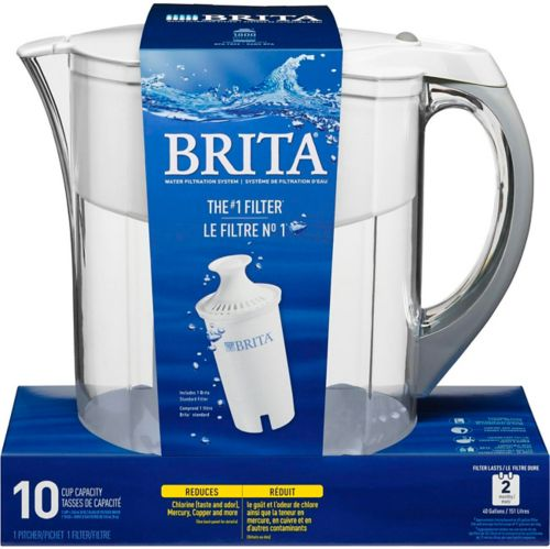 Brita Grand Water Filter Pitcher with Replacement Filter, White, 10-Cup