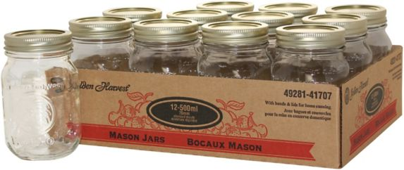 Golden Harvest Mason Jars, 500-mL, 12-pk