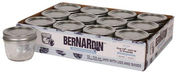 Bernardin Decorative Mason Jars, 125-mL,12-pk