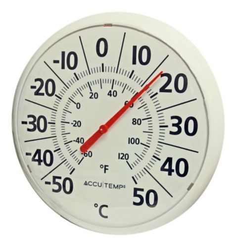 Round Outdoor Thermometer, White, 13-in