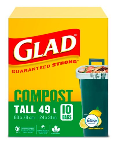 Glad 100% Compostable Bags - Tall 49 Litres - Lemon scent, 10 Compost Bags Product image