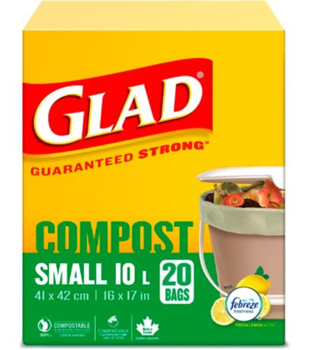 Glad 100% Compostable Bags - Small 10 Litres - Lemon Scent, 20 Compost Bags Product image