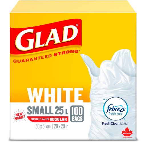 Glad White Garbage Bags - Small 25 Litres - Febreze Fresh Clean Scent, 100 Trash Bags Product image