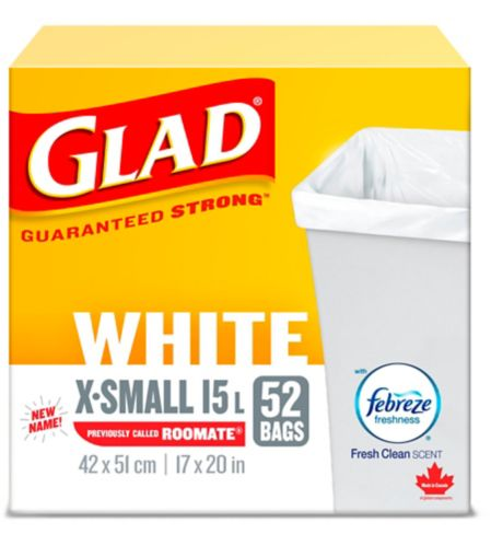 Glad White Garbage Bags - X-Small 15 Litres - Febreze Fresh Clean Scent, 52 Trash Bags Product image