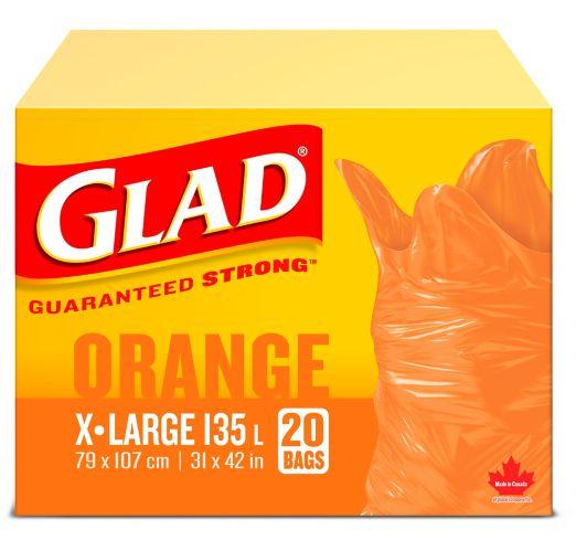 Glad Orange Garbage Bags - Extra Large 135 Litres - 20 Trash Bags Product image