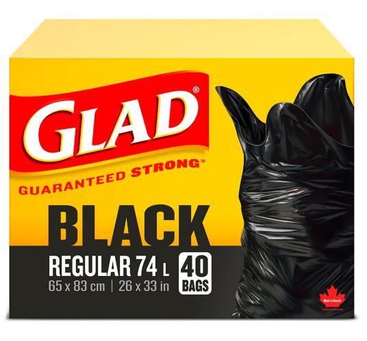 Glad Black Garbage Bags - Regular 74 Litres - 40 Trash Bags Product image