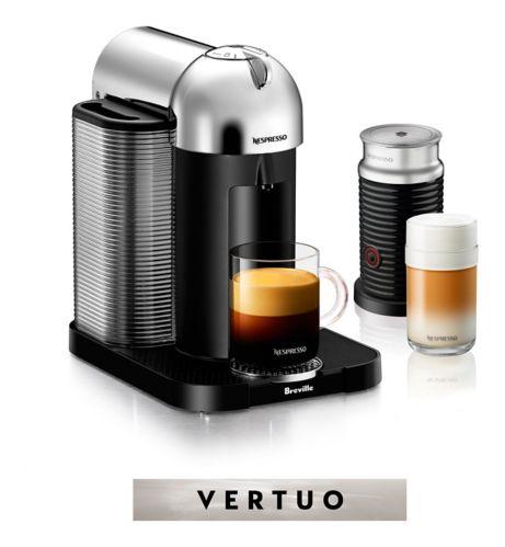 Nespresso Vertuo Coffee & Espresso Machine by Breville with Aeroccino Milk Frother, Chrome
