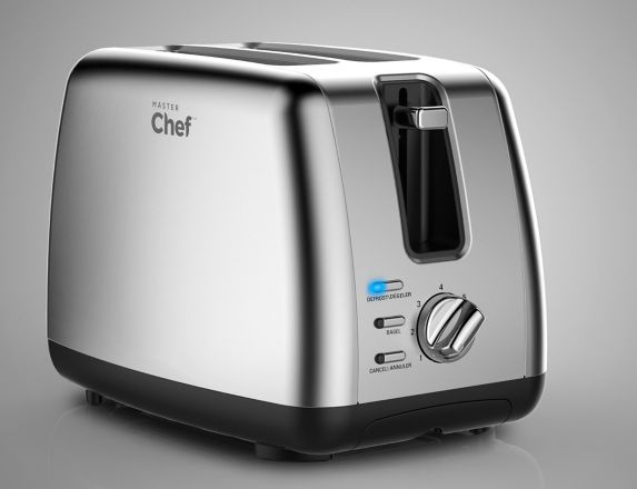 MASTER Chef Stainless Steel Toaster, 2-Slice