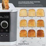PADERNO 2-Slice Even-Heat Toaster, Black Stainless Steel | Padernonull