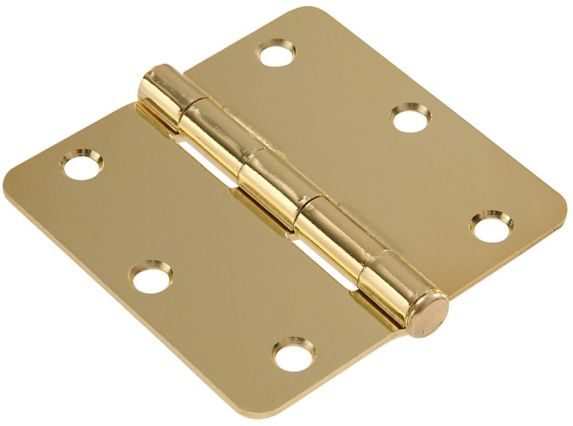 Hillman Residential Round Door Hinge, Brass Plated, 3-1/4-in, 1-pc Product image