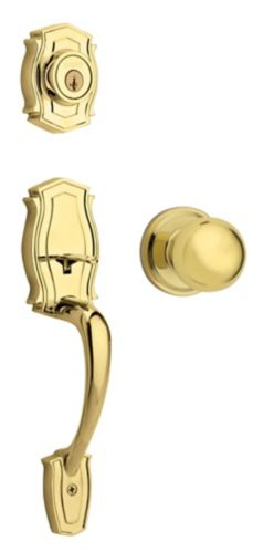 Weiser Heritage Gripset with Huntington Ball Interior Knob, Polished Brass Product image