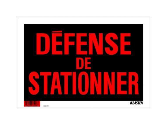 Affiche Défense de stationner Klassen (français), 8 x 12 po Image de l'article