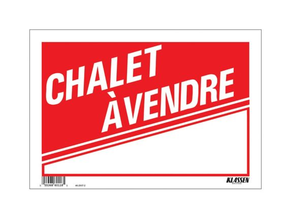 Klassen Chalet A Vendre Sign (French), 8 x 12-in Product image