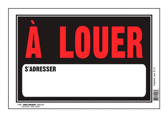 Hillman A Louer Sign (French), 8 x 12-in Product image