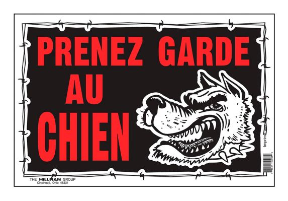 Hillman Prenez Garde Chien Sign (French), 8 x 12-in Product image