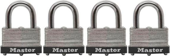 Master Lock Laminated Steel Warded Key Padlock, 38mm, 4-pk Product image
