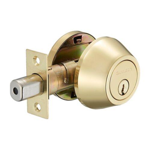 Garrison Single Cylinder Deadbolt, Polished Brass Product image