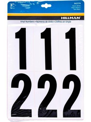 Chiffres autocollants Hillman, noir et blanc, 3 po Image de l'article