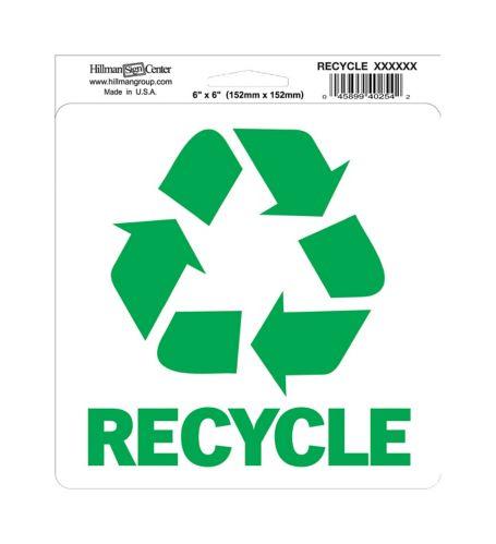 Affiche de recyclage Hillman, 6 x 6 po Image de l'article