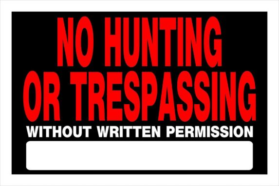 Affiche No Hunting/Trespassing Hillman, 8 x 12 po