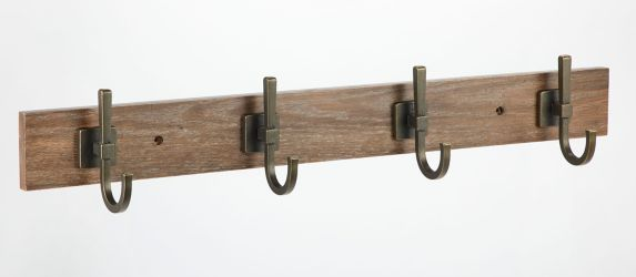 CANVAS 4-Hook Weathered Walnut Rail, 27-in Product image